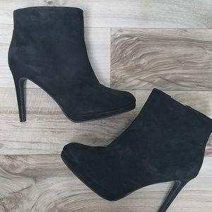 "Black suade Forever 21 booties w 4"" heels."